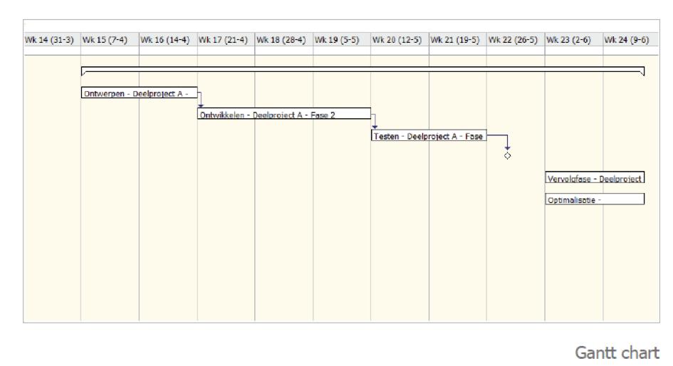 Grafische Wiedergabe der Projektplanung