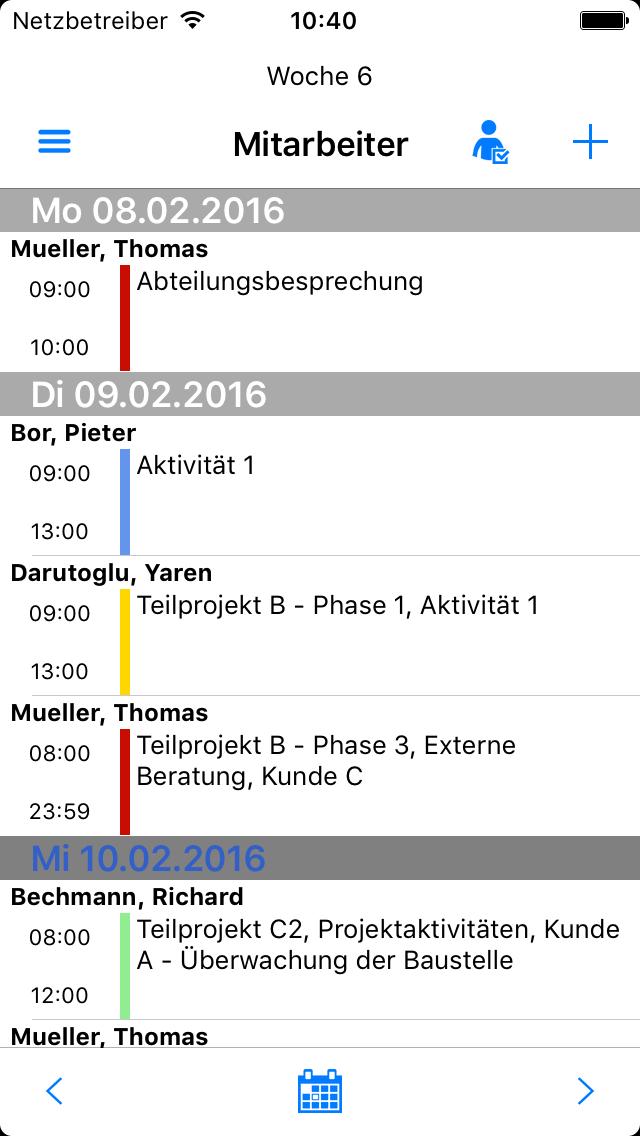 Zeiterfassung App - Kalenderplanung