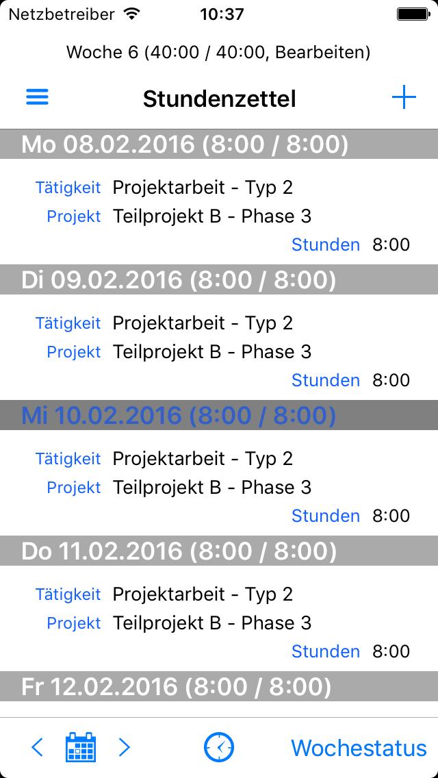 Zeiterfassung App - Stundenzettel