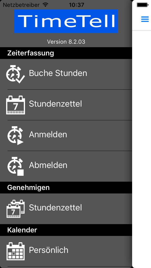Zeiterfassung App - Menü